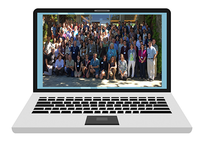 Laptop with OCB group photo on screen